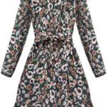 Zelené šifonové šaty s květy (137ART)