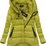 Asymetrická zimní bunda v hořčicové barvě (7150)