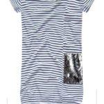 Bavlněné šaty s bílo-tmavě modrými proužky (ART18/3)