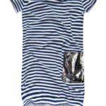 Bavlněné šaty s tmavě modro-bílými proužky (ART18/2)