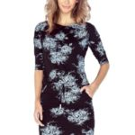 Černé sportovní šaty s bílými květy MM 007-1