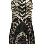Černo-zlaté pouzdrové šaty s flitry (F903)