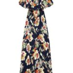 Dámské tmavě modré maxi šaty s volánkem (71337#)