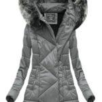 Šedá dámská zimní bunda asymetrická (1768)