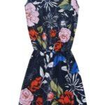 Tmavě modré bavlněné květované šaty (11055/3)