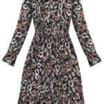 Černé dámské šifonové květované šaty (153ART)