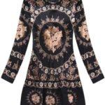 Černo-hnědé dámské vzorované šaty (170ART)