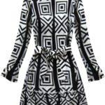 Dámské černo-bílé šaty s geometrickými vzory (163ART)