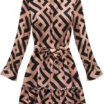 Dámské šaty v černo-lososové barvě s geometrickými vzory (163ART)