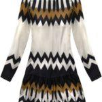 Dámské šaty v ecru/hnědé barvě s geometrickými vzory (164ART)