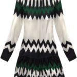 Dámské šaty v ecru/zelené barvě s geometrickými vzory (164ART)