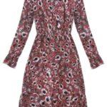 Dámské šifonové květované šaty v bordó barvě (153ART)