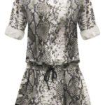 Hnědé dámské šaty s panteřím vzorem a plastickou výšivkou (162ART)