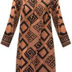 Jednoduché dámské vzorované hnědé šaty (165ART)