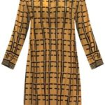 Jednoduché vzorované dámské žluté šaty (165ART)