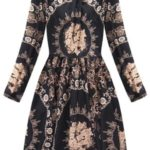 Rozšířené dámské černo-šedé šaty se stojáčkem (168ART)