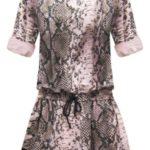 Růžové dámské šaty s panteřím vzorem a plastickou výšivkou (162ART)