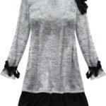 Světle šedé dámské šaty s volánky (167/1ART)