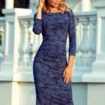 59-9 Dámské šaty s nařasením – džínová barva, křoví