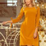 ALICE – Dámské šaty v hořčicové barvě s mašličkami 195-6