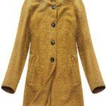 Beránkový kabát v hořčicové barvě se stojáčkem (178ART)