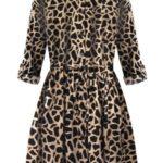 Béžové dámské košilové šaty se zvířecím vzorem (202ART)