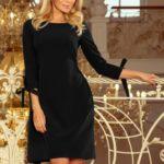 Černé dámské šaty s mašlemi 195-8 ALICE