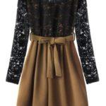 Černo-hnědé dámské šaty s krajkou (3250)
