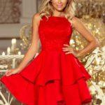 Červené dámské dvojitě rozšířené šaty s krajkovou vrchní částí 205-1 LAURA