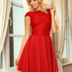 Červené dámské šaty s krajkou 157-8 MARTA
