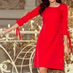 Červené dámské šaty s mašlemi 195-4 ALICE