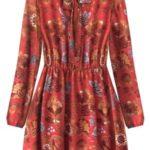 Červené dámské vzorované šifonové šaty (10606/1)