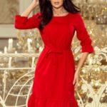 Dámské červené šaty s volánky a páskem 193-6 MAYA