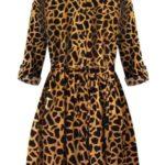 Dámské košilové šaty v hořčicové barvě se zvířecím vzorem (202ART)