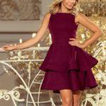 Dámské rozšířené šaty v bordó barvě 169-7 CRISTINA