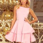 Dámské rozšířené šaty v pastelově růžové barvě 169-5 CRISTINA
