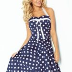 Dámské šaty Rockabilly pin up v tmavě modré barvě s bílými puntíky a bílou páskou 30-15