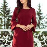 Dámské šaty v bordó barvě s krajkou na rukávech 190-8 MARGARET