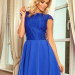 Dámské šaty v chrpové barvě s krajkou 157-5 MARTA