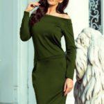 Dámské šaty v khaki barvě s odhalenými rameny 225-1 RAYA