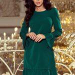 Dámské šaty v lahvově zelené barvě s volánky 226-1 PARI