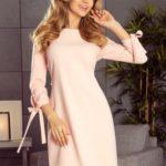 Dámské šaty v pastelově růžové barvě s mašlemi 195-2 ALICE