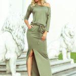 Dámské sportovní maxi šaty v olivové barvě s rozparkem 220-1