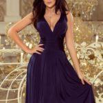 Dámské tmavě modré rozšířené midi šaty s výstřihem 219-1 GIULIA