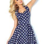 Dámské tmavě modré šaty Rockabilly pin up s bílými puntíky a knoflíky 30-13