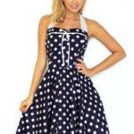 Dámské tmavě modré šaty Rockabilly pin up s bílými puntíky, vzadu bez korzetu 30-20