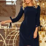 Dámské tmavě modré šaty s mašlemi 195-5 ALICE