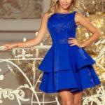 Dvojitě rozšířené dámské šaty v chrpové barvě s vyšívanou vrchní částí 206-1 DEVI