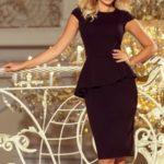 Elegantní černé dámské midi šaty s volánkem 192-3