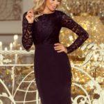 Elegantní černé dámské tužkové šaty s krajkou 216-2 EMMA